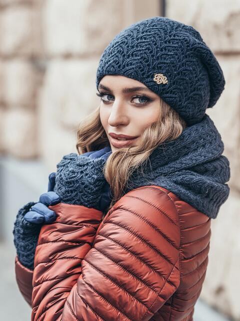 Комплект ажурной вязки с перчатками темно-синий - 15551, фото 2 – интернет-магазин Dressa