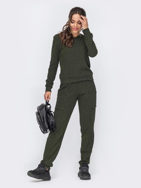 Комплект из брюк и свитшота цвета хаки 50798, фото 1