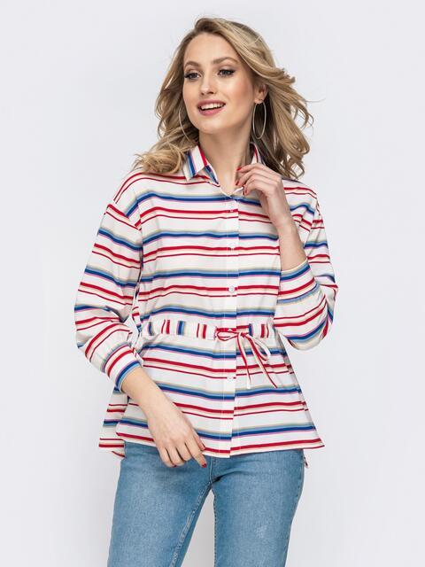 Молочная блузка в полоску с кулиской по талии 45579, фото 1