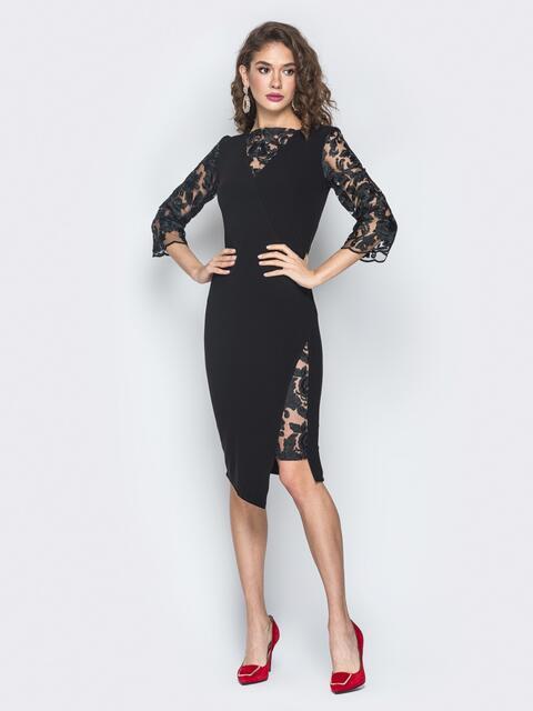 Платье черного цвета с рукавами из гипюра - 17956, фото 1 – интернет-магазин Dressa