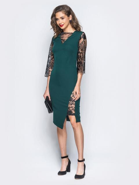 Платье зелёного цвета с рукавами из гипюра - 17954, фото 1 – интернет-магазин Dressa