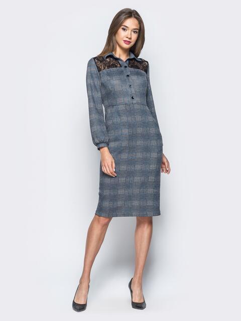 Приталенное платье в клетку с кружевом на кокетке - 16910, фото 1 – интернет-магазин Dressa