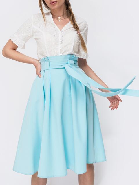 Расклешеная юбка с карманами голубая - 47315, фото 1 – интернет-магазин Dressa