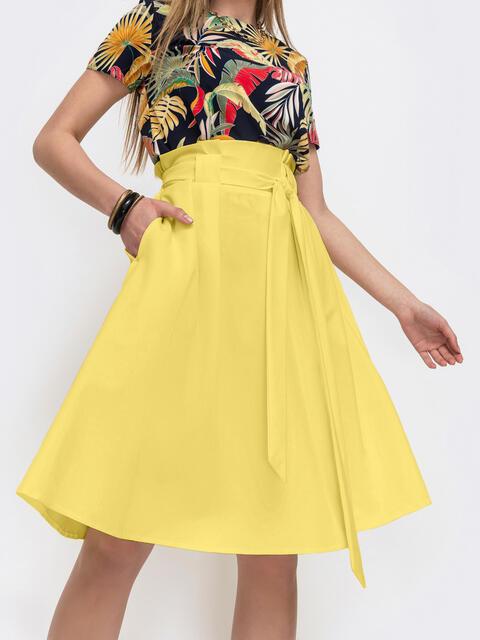 Расклешеная юбка с карманами желтая 47317, фото 1