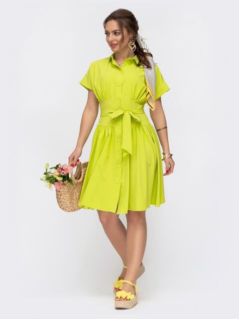 Расклешенное платье с драпированным лифом желтое 47313, фото 1