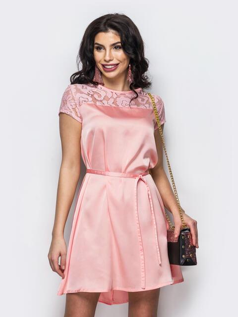 Розовое платье из шелка с кокеткой из гипюра - 13470, фото 1 – интернет-магазин Dressa