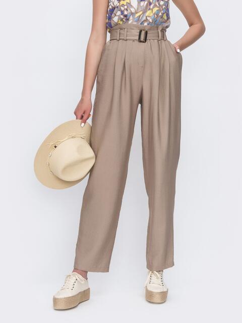 Широкие брюки бежевого цвета с высокой посадкой - 49134, фото 1 – интернет-магазин Dressa