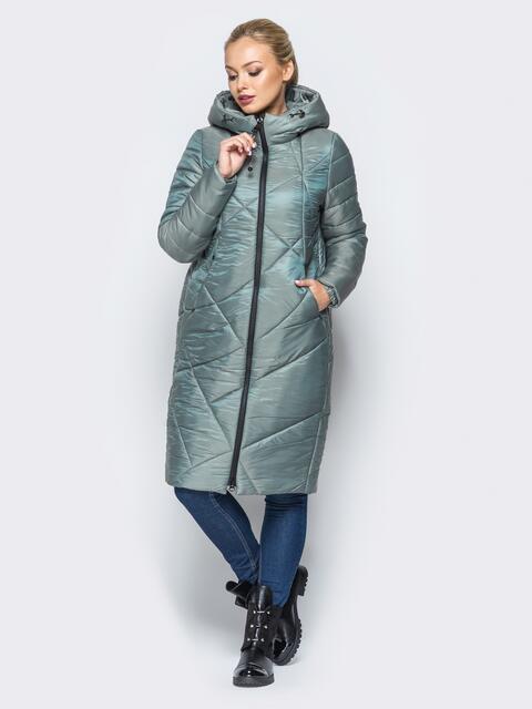 Зимняя куртка зелёного цвета с кулиской на капюшоне - 16991, фото 1 – интернет-магазин Dressa