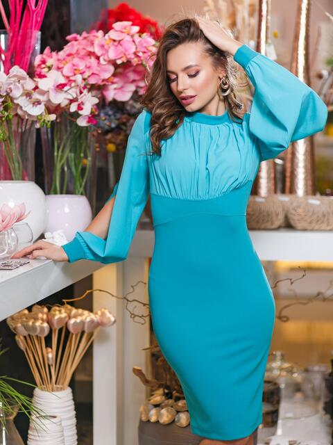 Бирюзовое платье-футляр с разрезами на рукавах - 20016, фото 1 – интернет-магазин Dressa