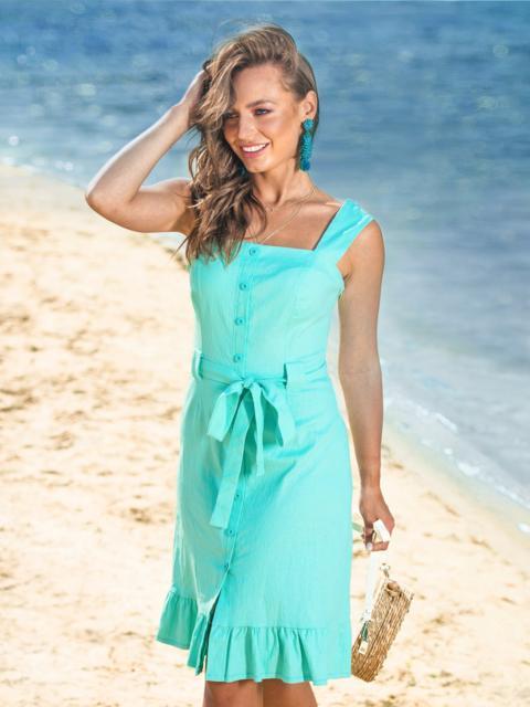 Бирюзовое платье с воланом по низу и вырезом каре - 38572, фото 1 – интернет-магазин Dressa