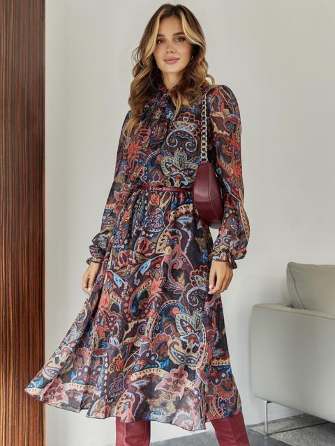 Бордовое платье с принтом и воротником-аскот - 45083, фото 1 – интернет-магазин Dressa