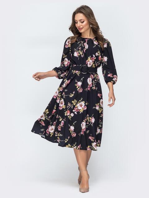 Чёрное платье с принтом и резинкой по талии 45850, фото 1
