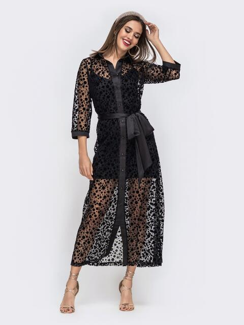 Чёрный комплект из платья и накидки из фактурной сетки - 42903, фото 1 – интернет-магазин Dressa