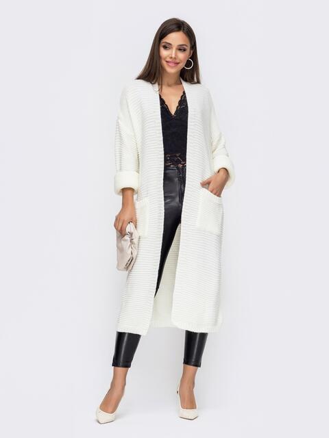 Oversize кардиган с накладными карманами белый - 15831, фото 1 – интернет-магазин Dressa