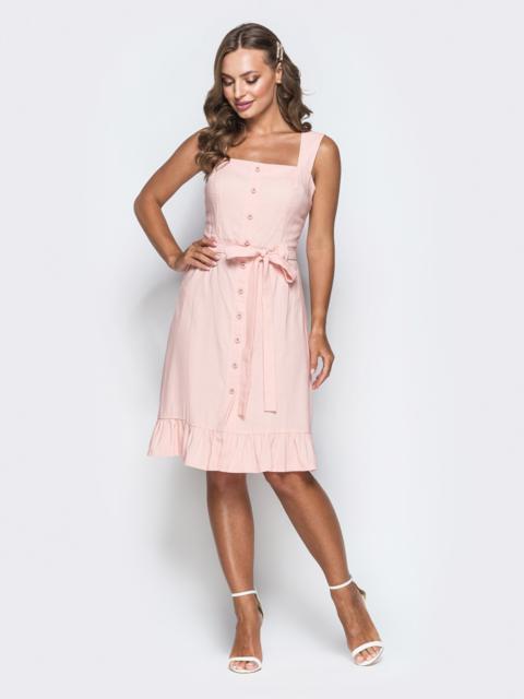 Персиковое платье с воланом по низу и вырезом каре - 38573, фото 1 – интернет-магазин Dressa