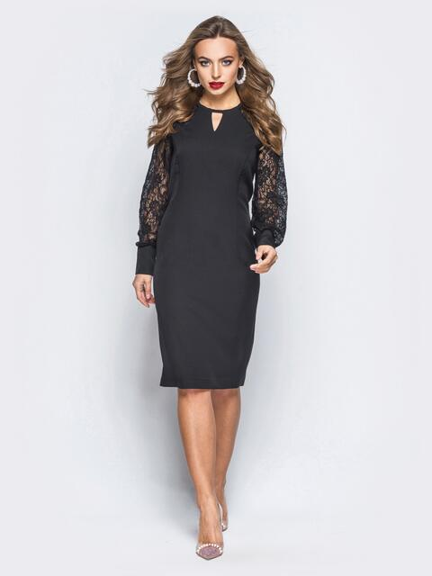 Платье-футляр черного цвета с рукавами из гипюра черное - 17989, фото 1 – интернет-магазин Dressa
