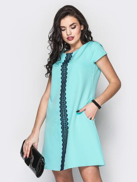 Стильное платье А-силуэта с кружевом бирюзовое - 12592, фото 1 – интернет-магазин Dressa