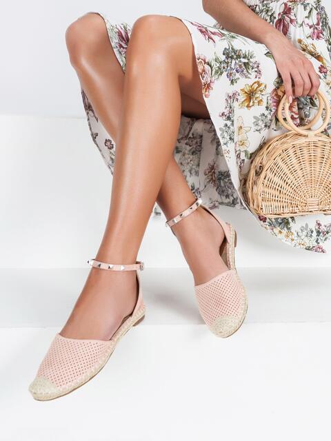 Босоножки из искусственной кожи с перфорацией розовые - 45481, фото 1 – интернет-магазин Dressa
