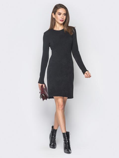 Черное платье из ангоры с открытой спиной - 18899, фото 1 – интернет-магазин Dressa