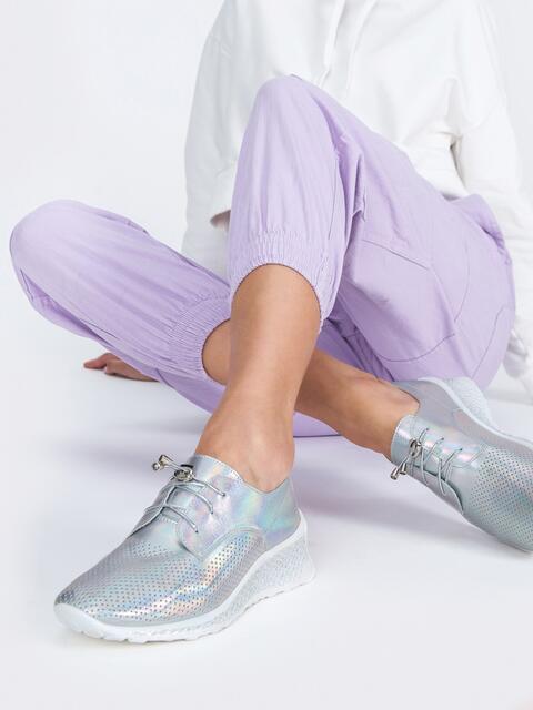 Кроссовки из искусственной кожи с перфорацией серые 45499, фото 1