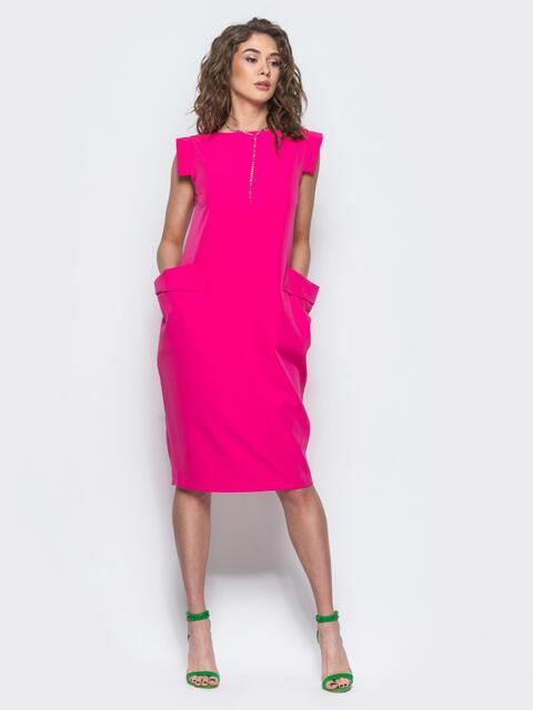 Малиновое платье с объемными карманами на полочке - 12502, фото 1 – интернет-магазин Dressa