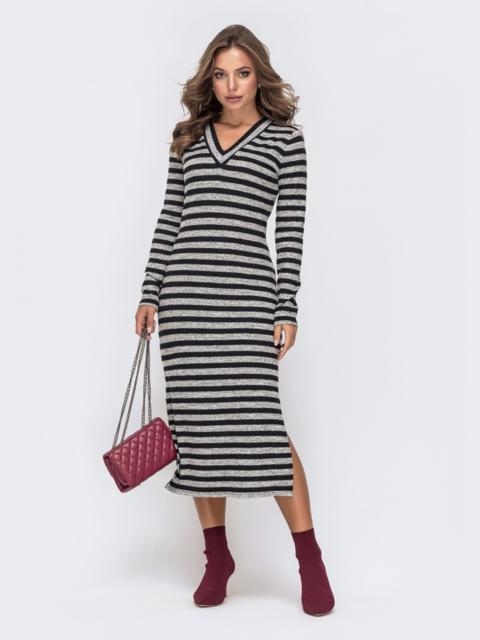 Обтягивающее платье в полоску с V-вырезом чёрное 41379, фото 1