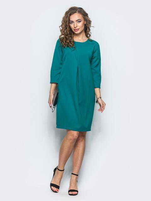 Платье со складкой и рукавами 3/4 бирюзовое - 12698, фото 1 – интернет-магазин Dressa