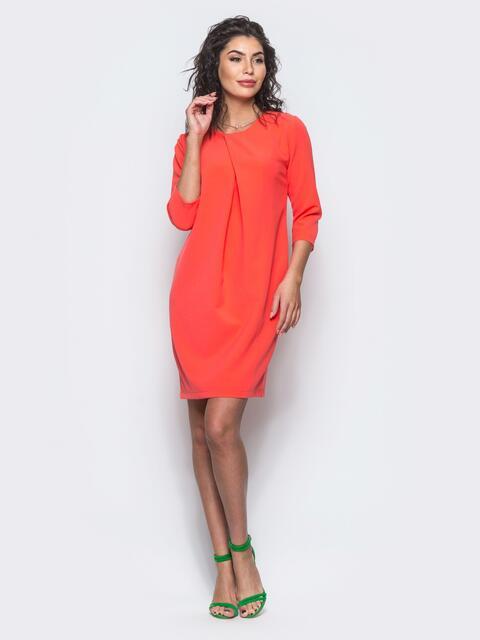 Платье со складкой и рукавами 3/4 коралловое - 12697, фото 1 – интернет-магазин Dressa