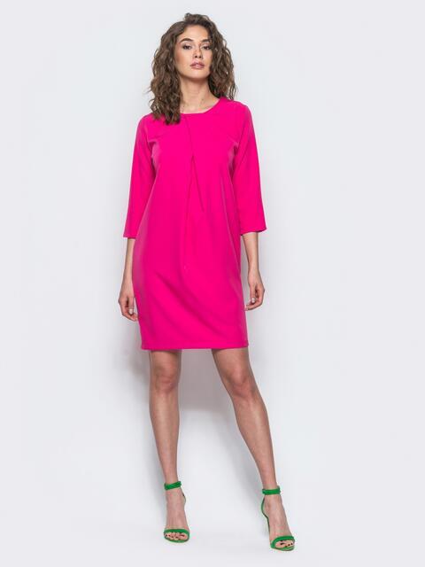 Платье со складкой и рукавами 3/4 малиновое - 12699, фото 1 – интернет-магазин Dressa