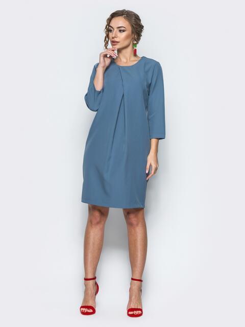 Платье со складкой и рукавами 3/4 синее - 12696, фото 1 – интернет-магазин Dressa