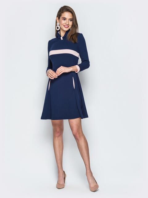 Платье тёмно-синего цвета с контрастной вставкой - 18805, фото 1 – интернет-магазин Dressa