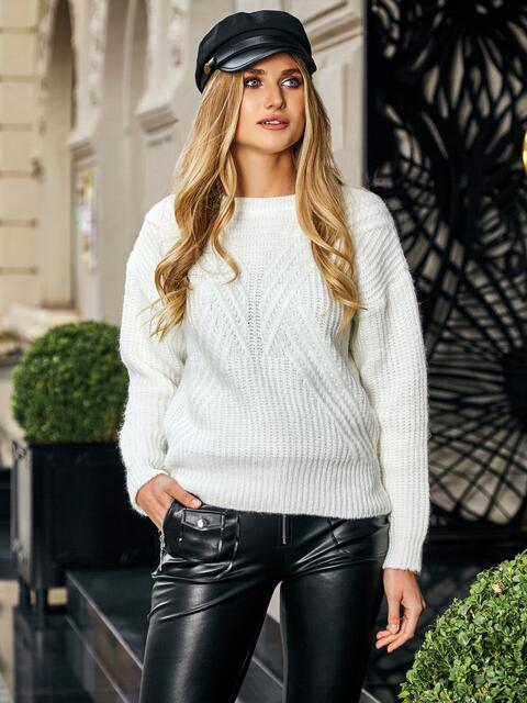 Свитер с геометрической вязкой белый - 41970, фото 1 – интернет-магазин Dressa