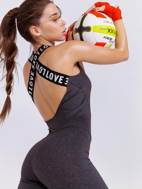 Тёмно-серый комбинезон для фитнеса с открытой спиной - 44692, фото 1 – интернет-магазин Dressa