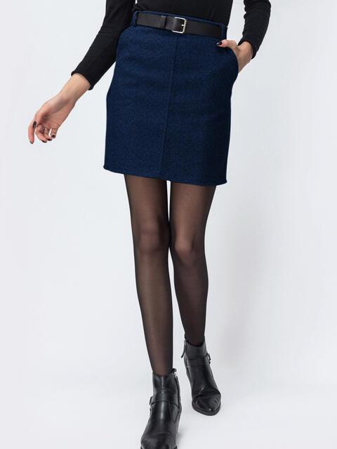 Тёмно-синяя юбка-мини с поясом и карманиами 53462, фото 1