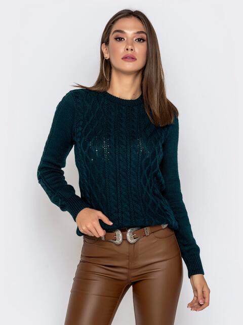 Тёмно-зеленый свитер с ажурной вязкой - 41161, фото 1 – интернет-магазин Dressa