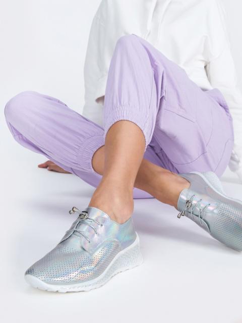 Туфли из искусственной кожи с перфорацией серые - 45499, фото 1 – интернет-магазин Dressa