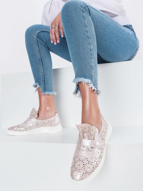 Туфли пудрового цвета с перфорацией - 45497, фото 1 – интернет-магазин Dressa