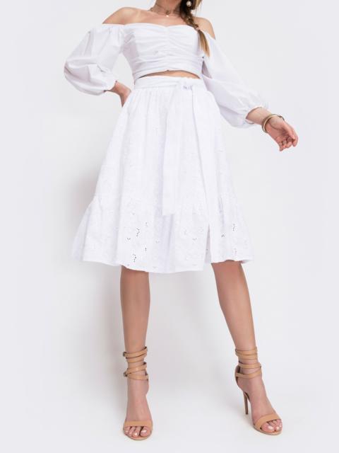 Белая юбка-трапеция из прошвы с воланом - 46981, фото 1 – интернет-магазин Dressa