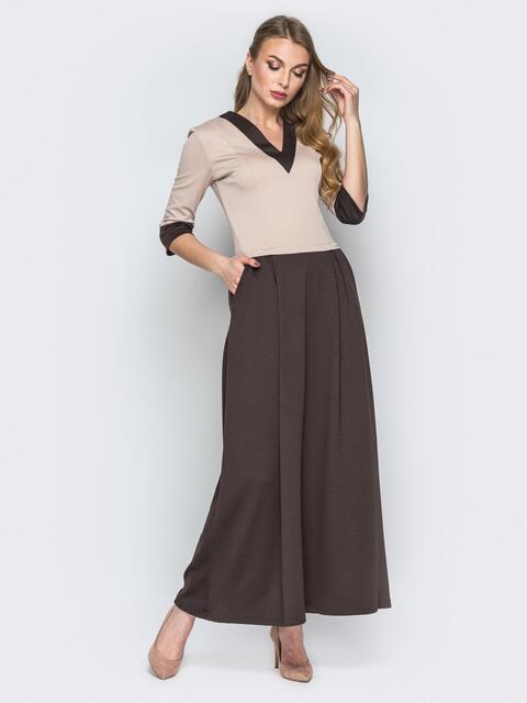 Коричневое платье в пол с расклешенной юбкой - 19694, фото 1 – интернет-магазин Dressa