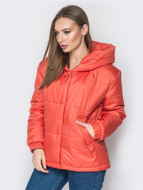 Короткая куртка со вшитым капюшоном коралловая - 20085, фото 1 – интернет-магазин Dressa
