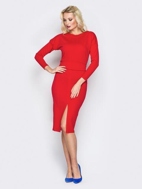 Красное обтягивающее платье с разрезом спереди - 19690, фото 1 – интернет-магазин Dressa