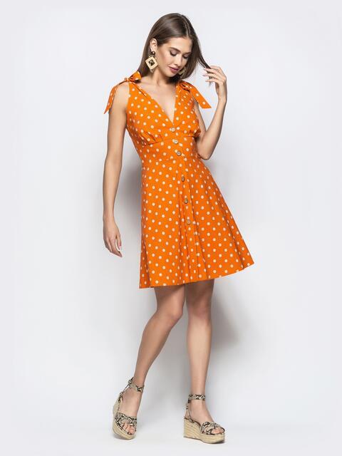 Оранжевое платье в горох с драпированным лифом 21602, фото 1