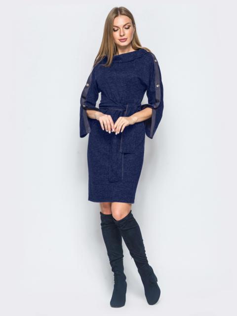 Платье тёмно-синего цвета с функциональными пуговицами на лампасах - 17348, фото 1 – интернет-магазин Dressa