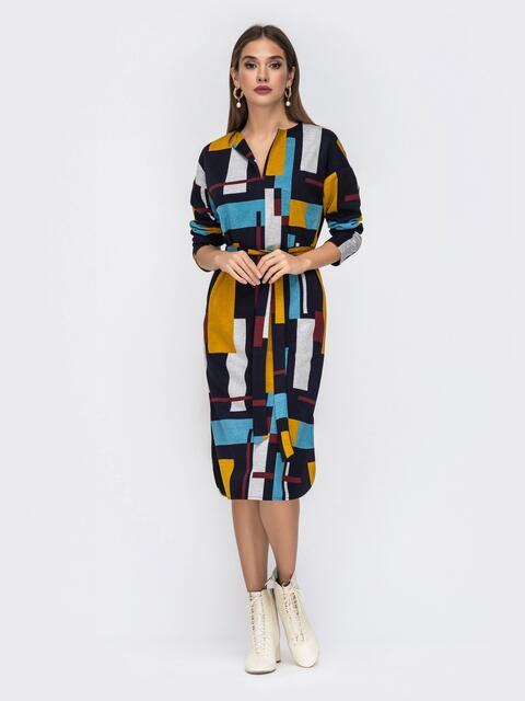 Принтованное платье-миди с V-вырезом 42219, фото 1