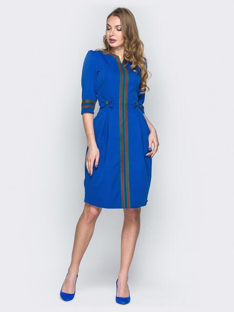 Синее платье из костюмной ткани с репсовой лентой - 19688, фото 1 – интернет-магазин Dressa
