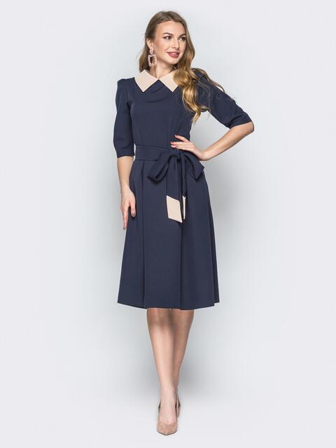Синее платье с расклешённой юбкой и отложным воротником - 19691, фото 1 – интернет-магазин Dressa