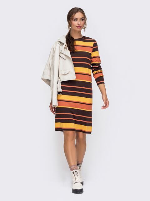 Терракотовое вязаное платье в полосу прямого кроя 50441, фото 1