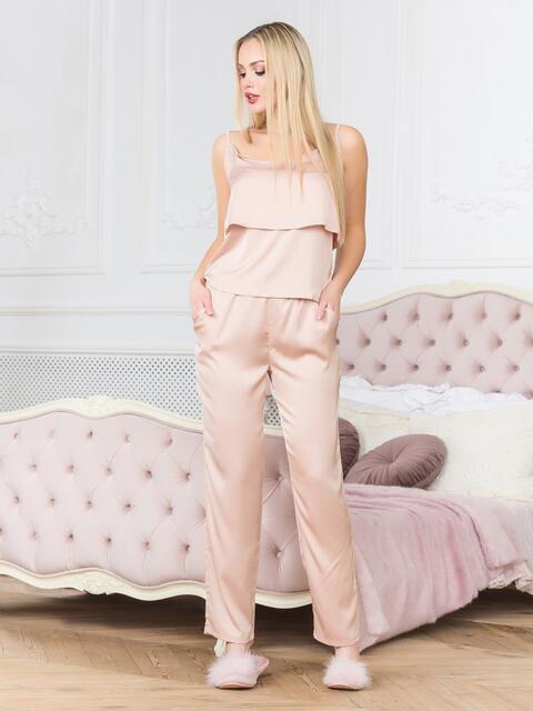 Бежевая пижама с воланом на топе и брюками - 18936, фото 1 – интернет-магазин Dressa