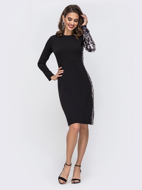 Чёрное платье приталенного кроя с пайетками 42720, фото 1