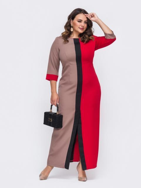 Длинное платье батал приталенного кроя красное 50905, фото 1